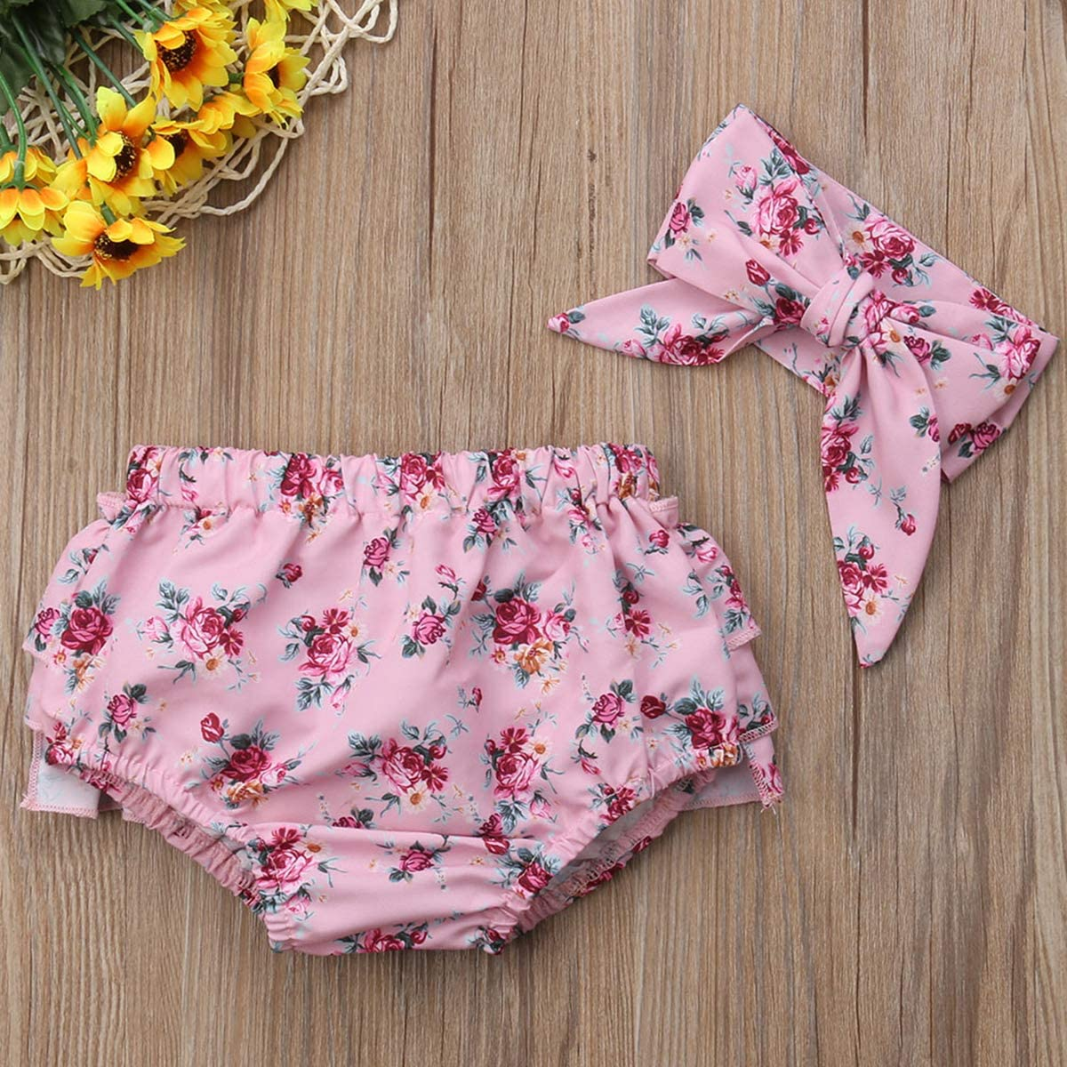 Newborn Cute Kids Baby Girls Floral Ruffle Shorts Underwear Diaper Cover Bloomer Bow Headband Set