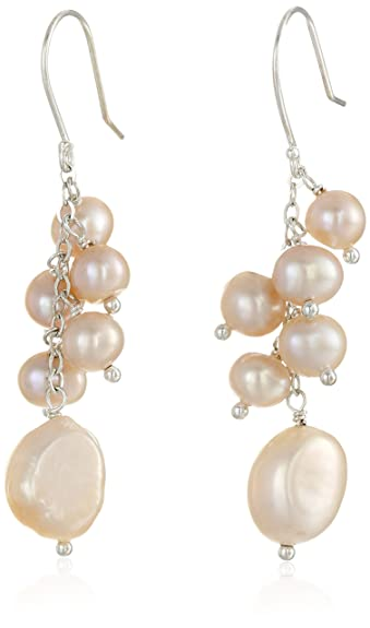 Lustrous - White Baroque Pearl Drop Earrings with Crystal on Silk Threads qzliCuGD7l