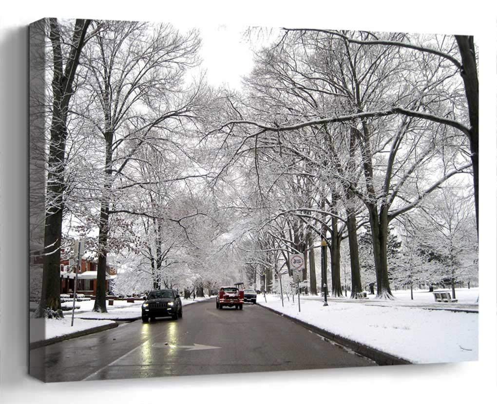 Wall Art Canvas Print Home Decor (20x14 inches)- Street Winter Huntington Snow Travel Town Co