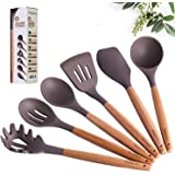 Maphyton Silicone Cooking Utensils, 6 Pieces Nonstick Kitchen Tool Set with Natural Acacia Hard Wood Handle (Grey)