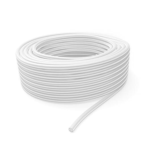 KabelDirekt 50m Cable coaxial, (75 Ohm, 120 Db, Made IN Germany, blindaje Triple, Conductor Interior DE 99,9% DE Cobre, Revestimiento 6,8 mm PVC blancom, ...