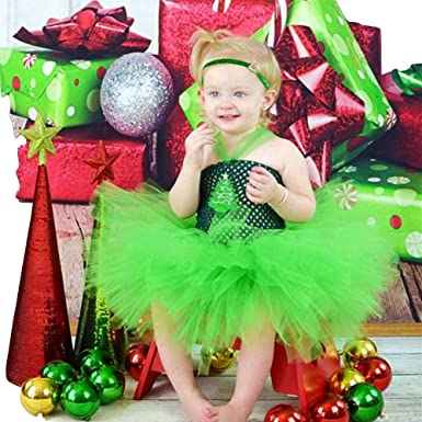 47b3f88ca67 THE LONDON STORE Baby Girl s Christmas Tree Tutu Dress Green Holiday  Portrait Infant Toddler Baby Girl