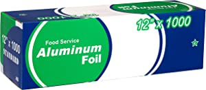 EcoQuality [1 Pack] Food Service Heavy Duty Aluminum Foil Roll (12 in x 1000 ft) with Sturdy Corrugated Cutter Box - Great for Grill Use, Kitchen Wrap, Foil Wrap, Cooking, Cleaning
