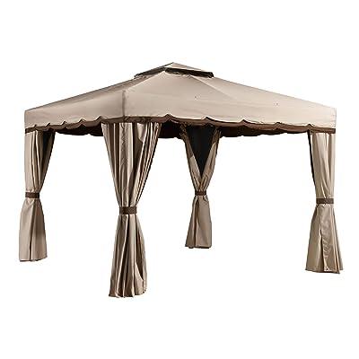 Sojag 10' x 12' Roma Hardtop Gazebo Outdoor Sun Shelter, Beige : Garden & Outdoor