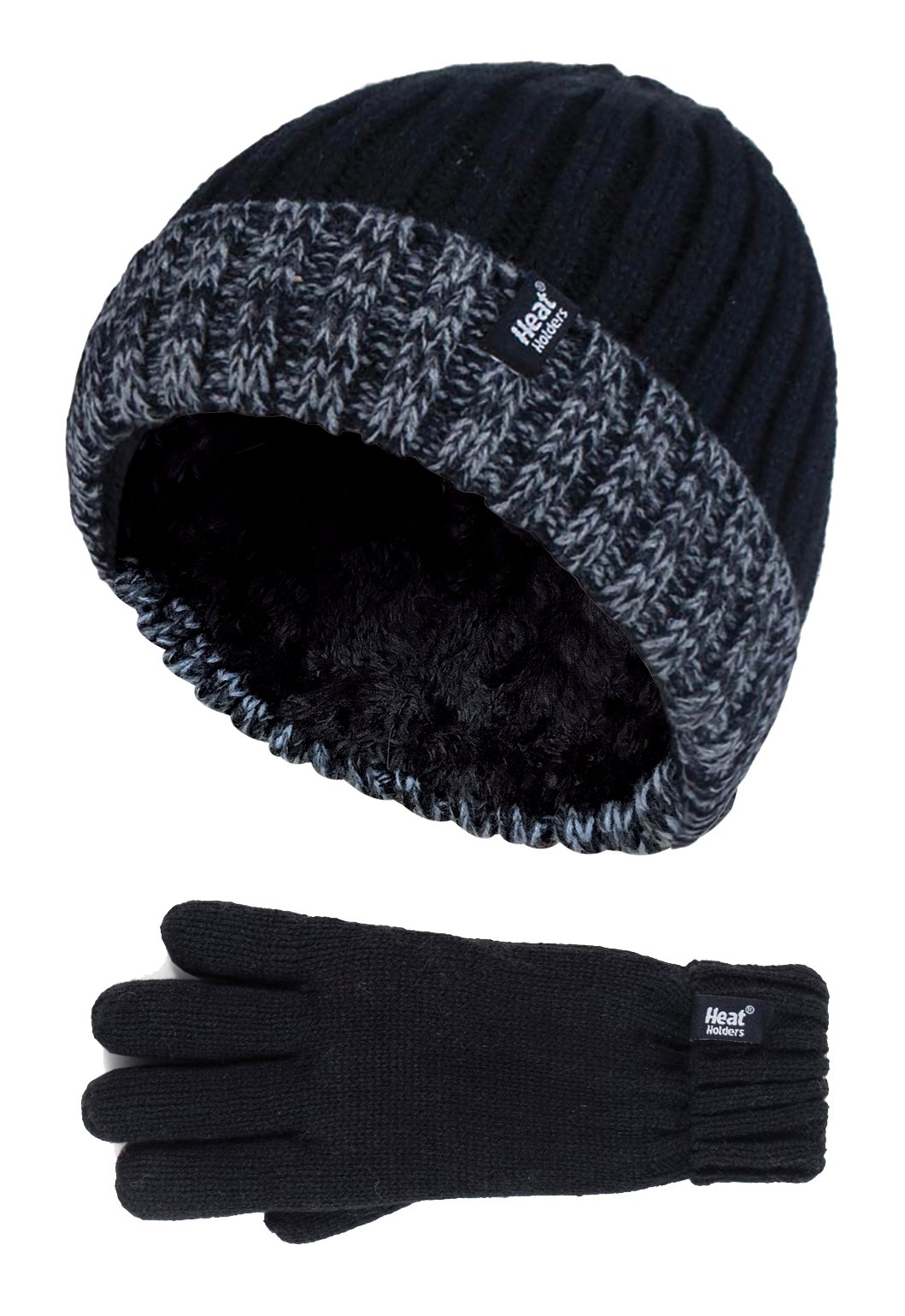 Heat Holders - Kids Boys Fleece Insulated Knit Winter Beanie Hat and Gloves Set (11+ Years, BS2P9)