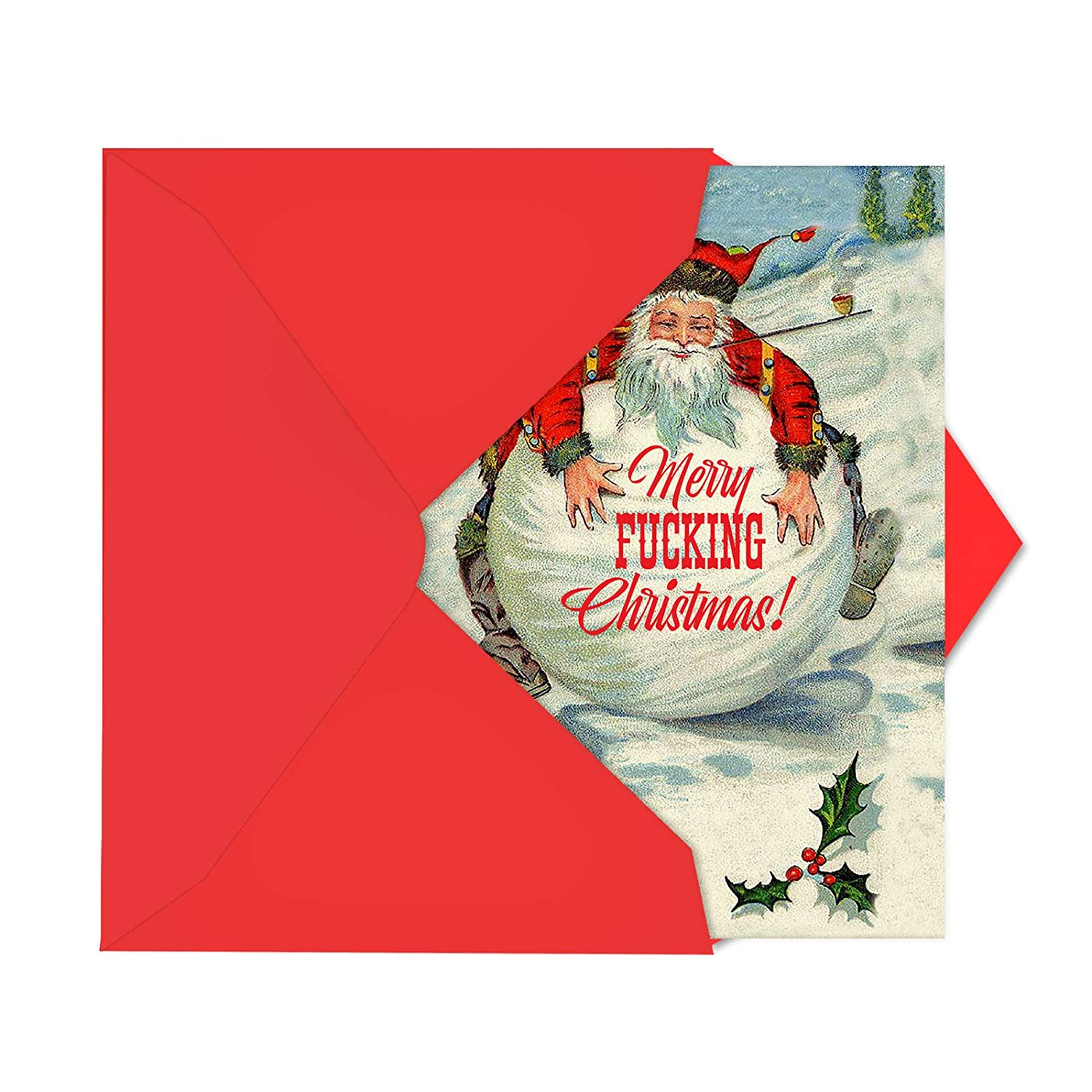Amazon Santa Snowball Hysterical Christmas Card Showing a