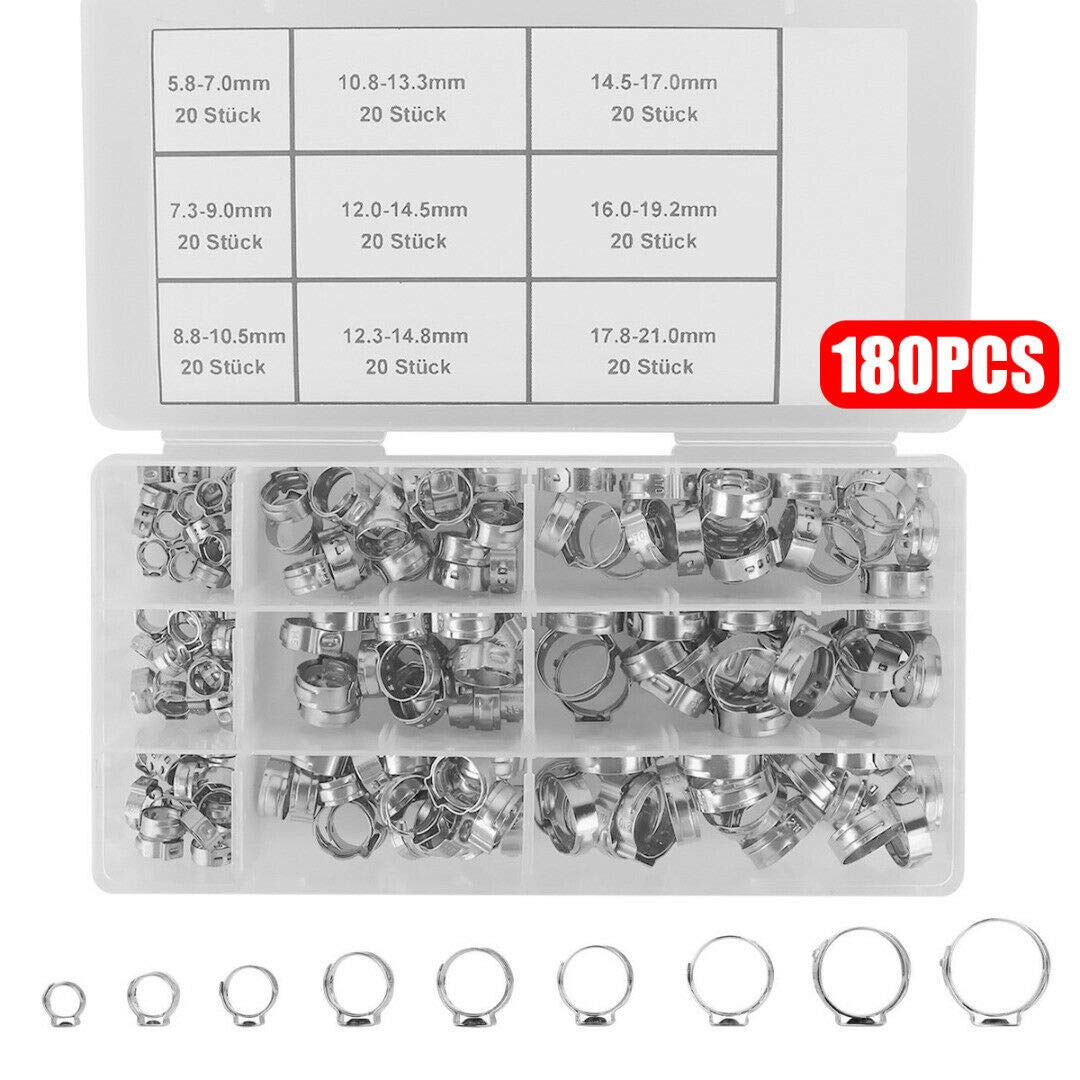 180Pcs Adjustable Stainless Steel Ear Hose Clamps Hose Single Ear Clamps +Box by Balance World Inc