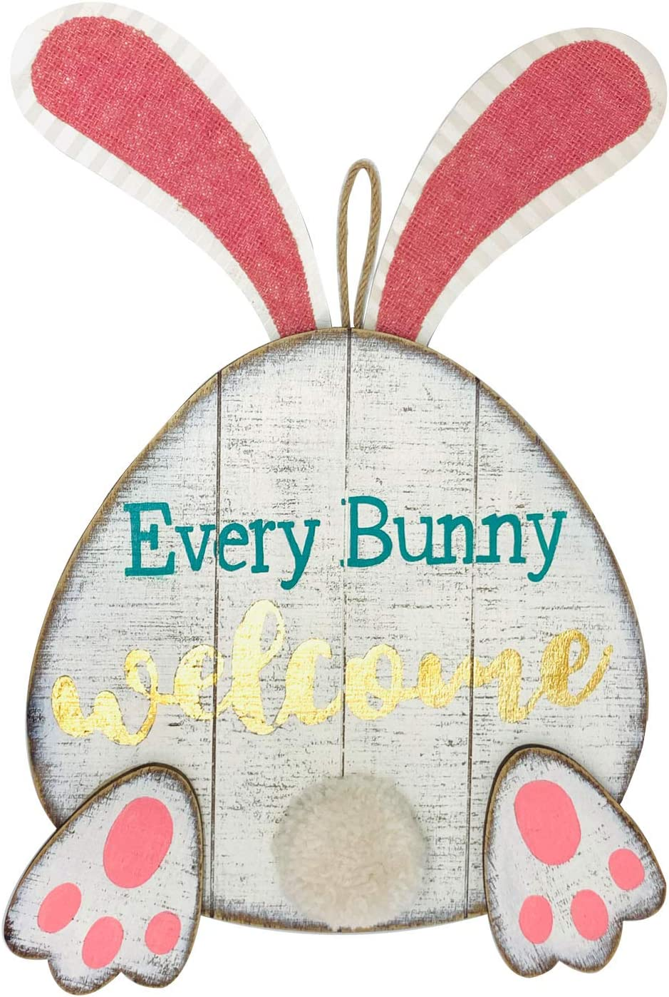 ANROD Easter Rustic Bunny Wall Hanging Decoration for Home,Wood Rabbit Welcome Sign Decor,Every Bunny Welcome Decorations with 3D Pom Pom Tail