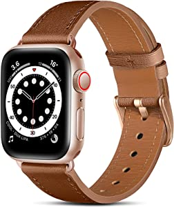 Easuny Leather Band Compatible with Apple Watch SE 40mm 38mm iWatch Series 6 5 4/ 3 2 1, Classical Elegent Genuine Leather Strap Wristband Replacement Accessories for Women Men,Brown