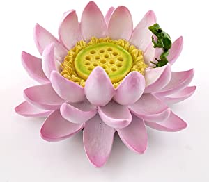 "Top Collection Lotus Flower with Frog Incense & Candle Holder, 4.25"", Pink"