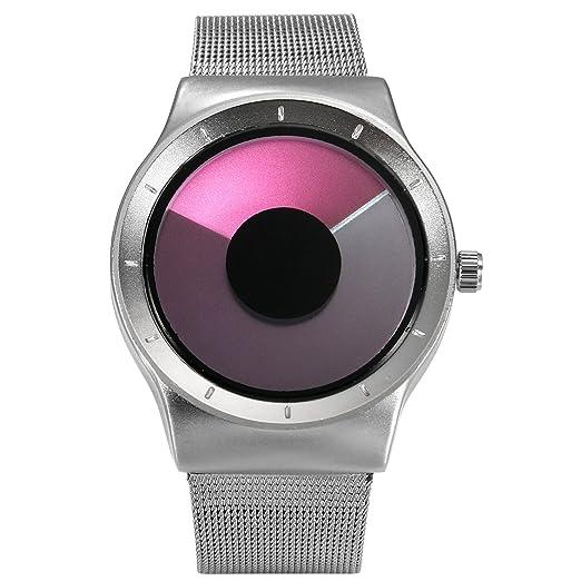 Lancardo Reloj Comercial Analógico Mostración de Tiempo Especial sin Agujas Dial Forma de Remolino Pulsera Electrónica
