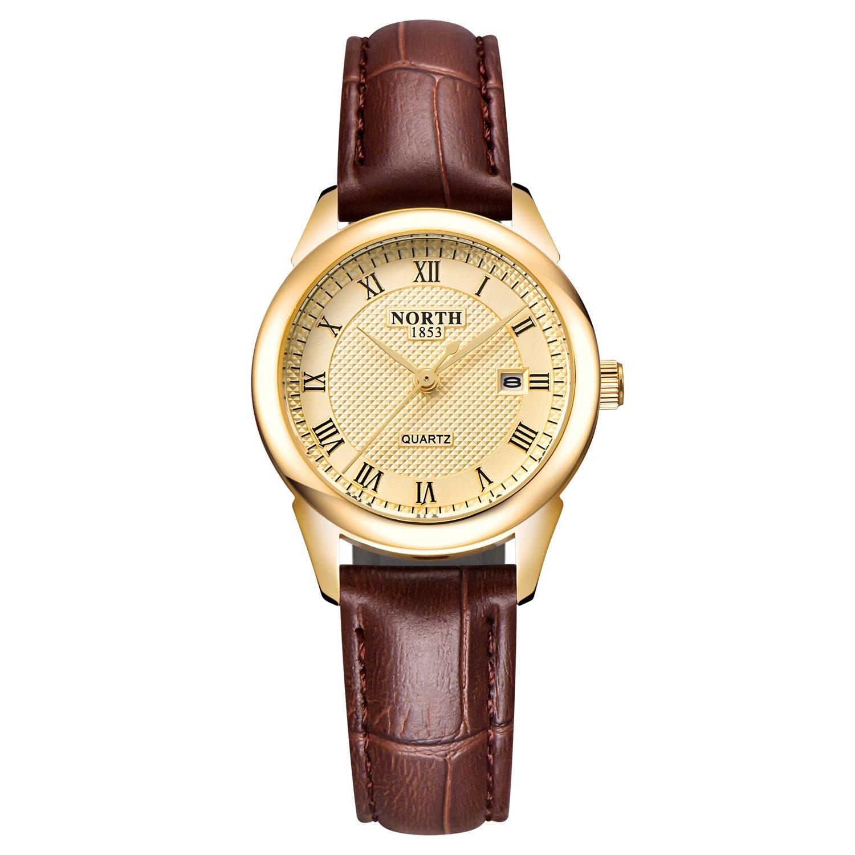 a830de0f0 Amazon.com: Womens Leather Watch,Fashion Casual Gold Watches for  Women,Waterproof Quartz Ladies Brown Wrist Watch: Watches