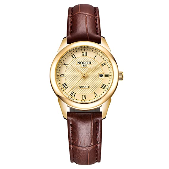 321124027a3 Womens Leather Watch,Fashion Casual Gold Watches for Women,Waterproof  Quartz Ladies Brown Wrist