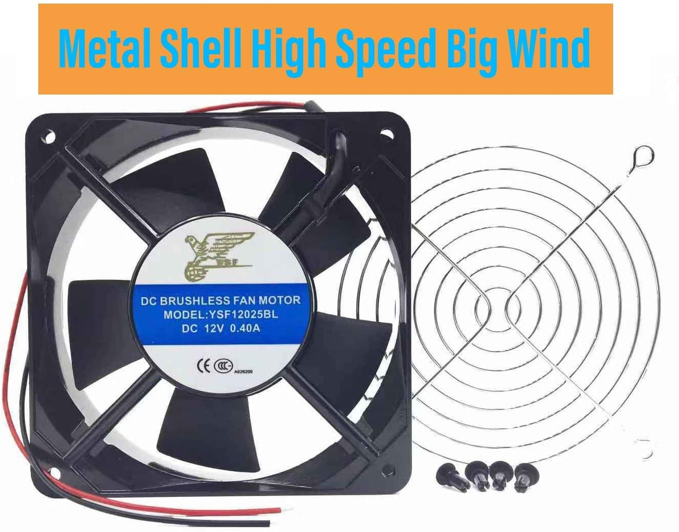 Metal Shell Ball Axial Fan, YSF12025 Series, 12V, 24 V, DC, 120 mm, 25 mm, High Performance Cooling Fan,Computer Case Fans,Cooling Fans for Mechanical Equipment (YSF12025DC12v-JS)