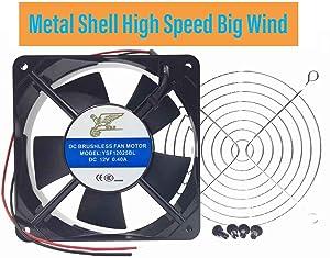 Metal Shell Ball Axial Fan, YSF12025 Series, 12V, 24 V, DC, 120 mm, 25 mm, High Performance Cooling Fan,Computer Case Fans,Cooling Fans for Mechanical Equipment (YSF12025DC12v-JS)
