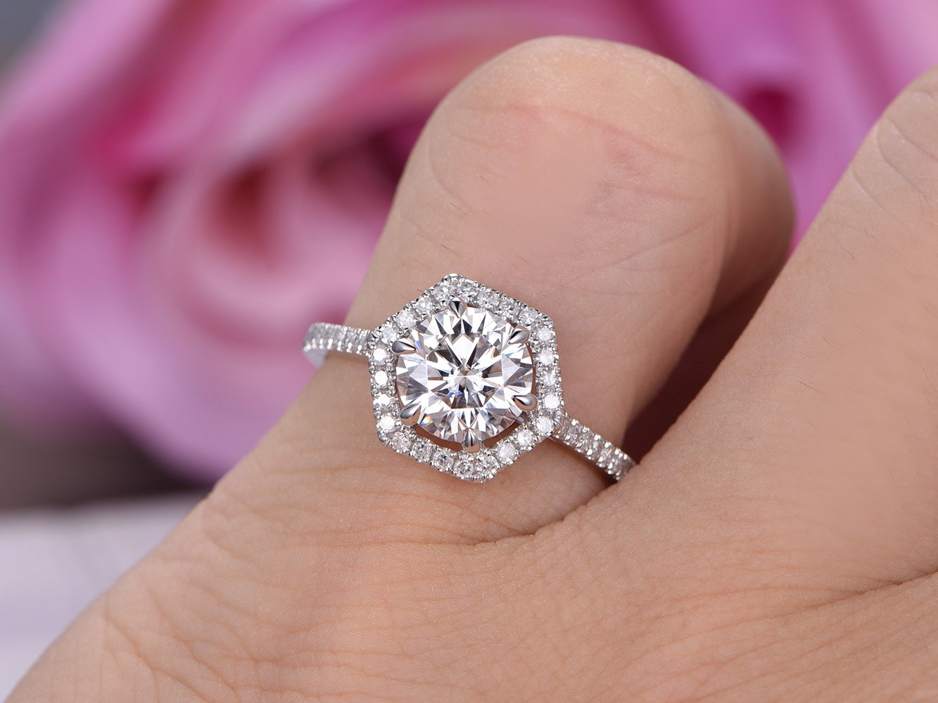 Amazon.com: Round Moissanite Engagement Ring Hexagon Halo Diamond ...