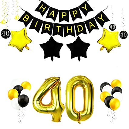 GOER 35 Pcs 40th Birthday Decorations Set42 Inch Gold Foil Number 40 Balloons With