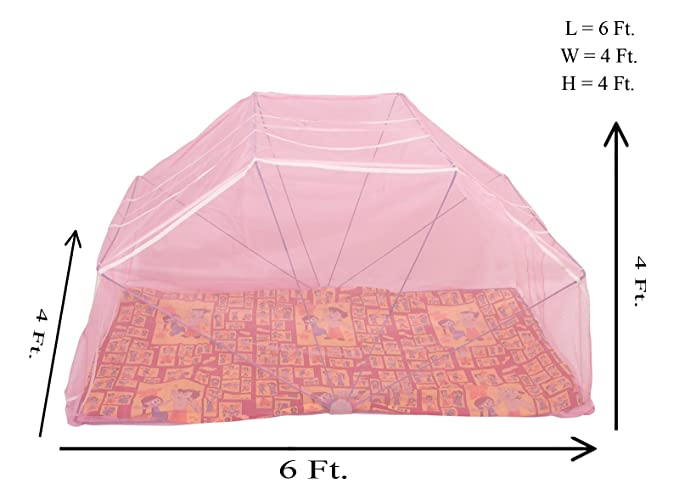Elegant Mosquito Net Mid Size Bed, 4*6 (Pink)