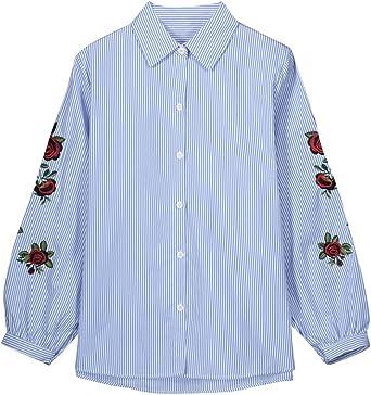 Mujer Bordado Impreso Rayas Camisas Estampadas Blusa De Manga ...