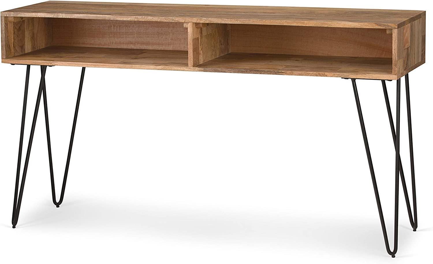Mid Century Modern Moreno Solid Mango Wood Console Sofa Table - Natural - Wyndenhall