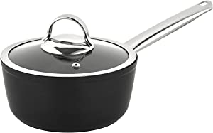 Saflon Titanium Pro Nonstick 1.5 Quart Sauce Pan with Glass Lid Forged Aluminum with PFOA Free Coating