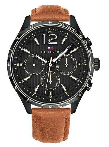 Tommy Hilfiger Reloj Multiesfera para Hombre de Cuarzo con Correa en Cuero 1791470: Amazon.es: Relojes