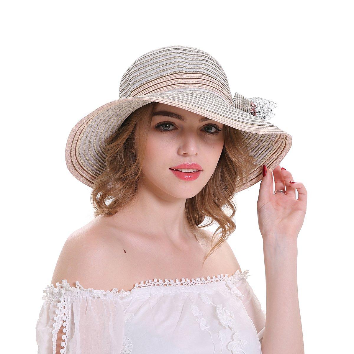 cbeb0d2e05857d MEEFUR Women's Adjustable Paper Straw Flower Beach Hat Church Cap Veil  Bowler Foldable Wide Brim Stripes Sun Hats Beige at Amazon Women's Clothing  store: