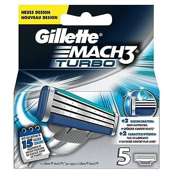 GILLETTE MACH3 TURBO hojas de afeitar Pack de 5 CARTUCHOS DE RECAMBIO: Amazon.es: Salud y cuidado personal