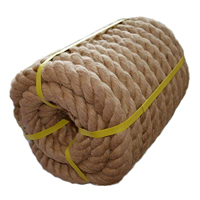 Twisted Manila Rope Jute Rope (1.5 in x 50 ft) Natural Thick Hemp Rope for Nautical, Landscaping, Railings, Hammock, Home Decorating