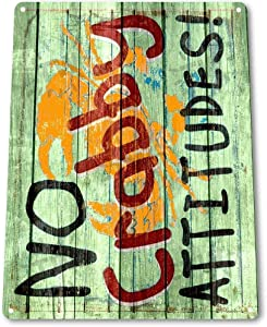 Anjoes TIN Sign B413 Crab Attitude Cafe Bar Seafood Beach House Crab Decor 12