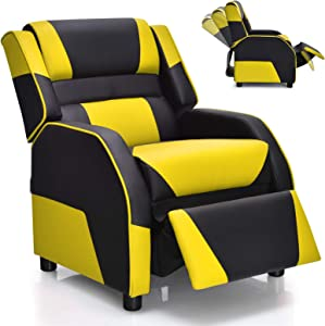 Giantex Kids Recliner, Kids/Youth Gaming Recliner Chair, Racing Style Game Sofa with Headrest and Lumbar Support, Ergonomic PU Leather Armchair Lounge Chair for Living & Gaming Room (Yellow)