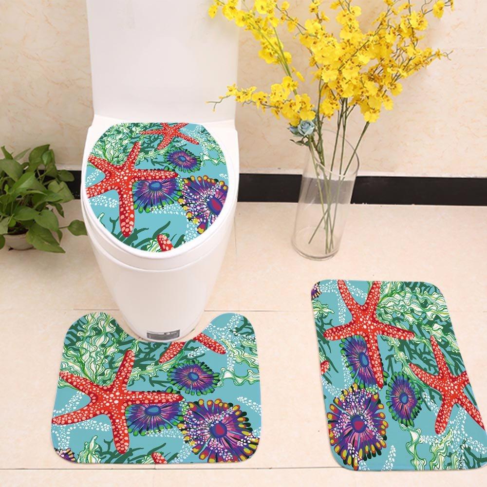 WCHUANG Nautical Decor Bath Rug Set Kids Baby Ocean Fish Starfish Non-slip Bathroom Mats Coral Underwater Sea World Animal Kitchen Room Doormats (7)