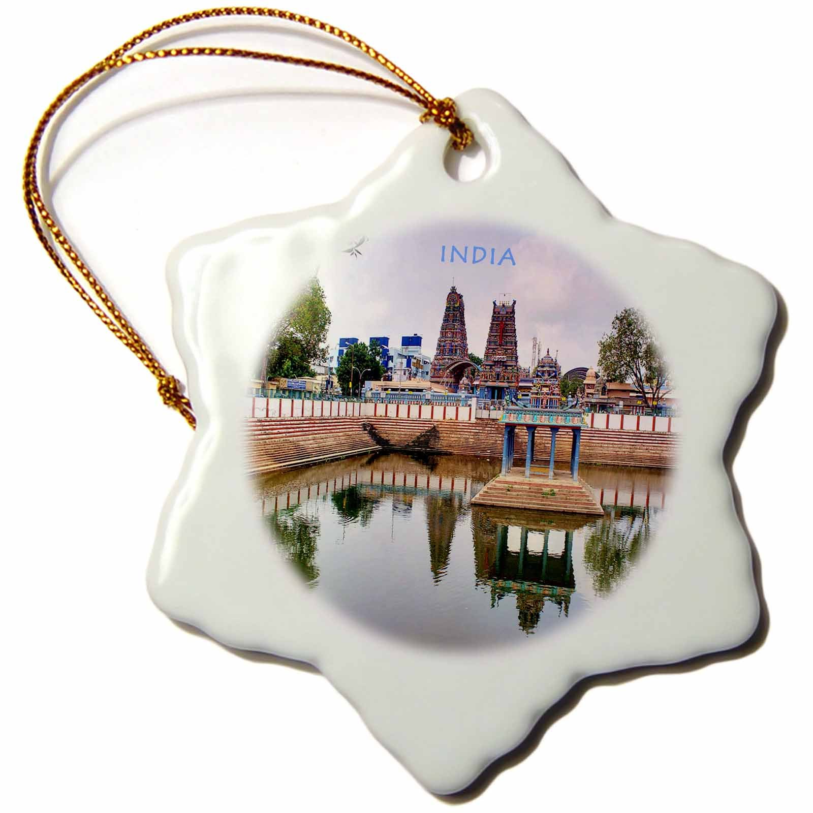 3dRose orn_80276_1 Hindu Temple in India-Snowflake Ornament, Porcelain, 3-Inch