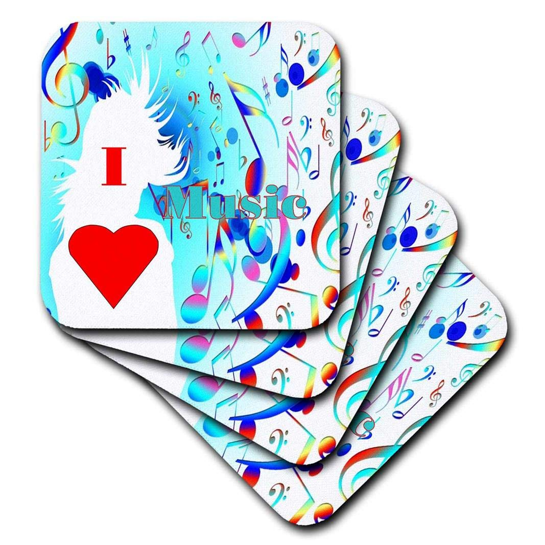 3D Rose Image of I Love to Dance Girl with Multicolor Notes Ceramic Tile Coasters