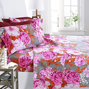 Printed Bed Sheet Set, King Size   Pink Peony   By Clara Clark, 6