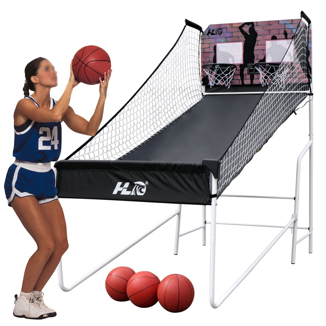 HLC Sports Double Shot 8-in-1 Two-player Arcade Electronic Basketball System by HLC