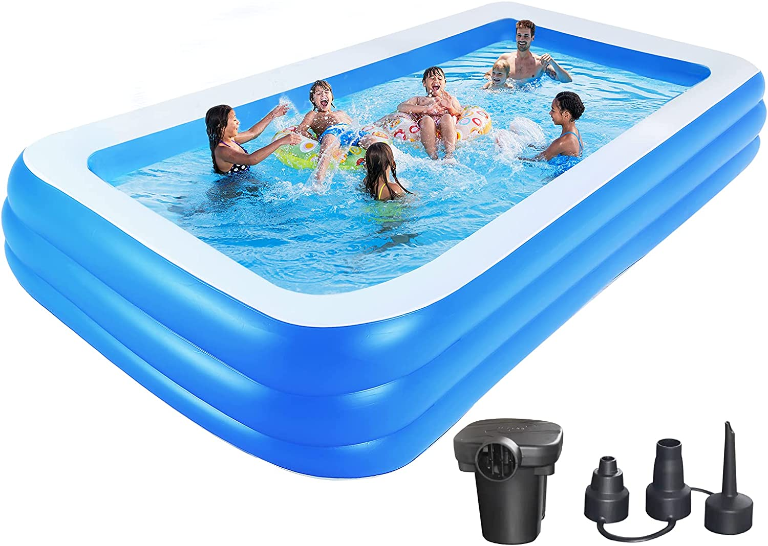Johomviin Inflatable Swimming Pool, Extra Large 150x72x22 inches Full-Sized Inflatable Pool, Blow Up Pool for Adults Kids, Rectangle Above Ground Pool for Backyard Garden Outdoor, Electric Pump Added