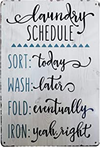PXIYOU Laundry Schedule Vintage Farmhouse Laundry Room Sign Country Home Decor Washroom Signs Art Wall 8X12Inch