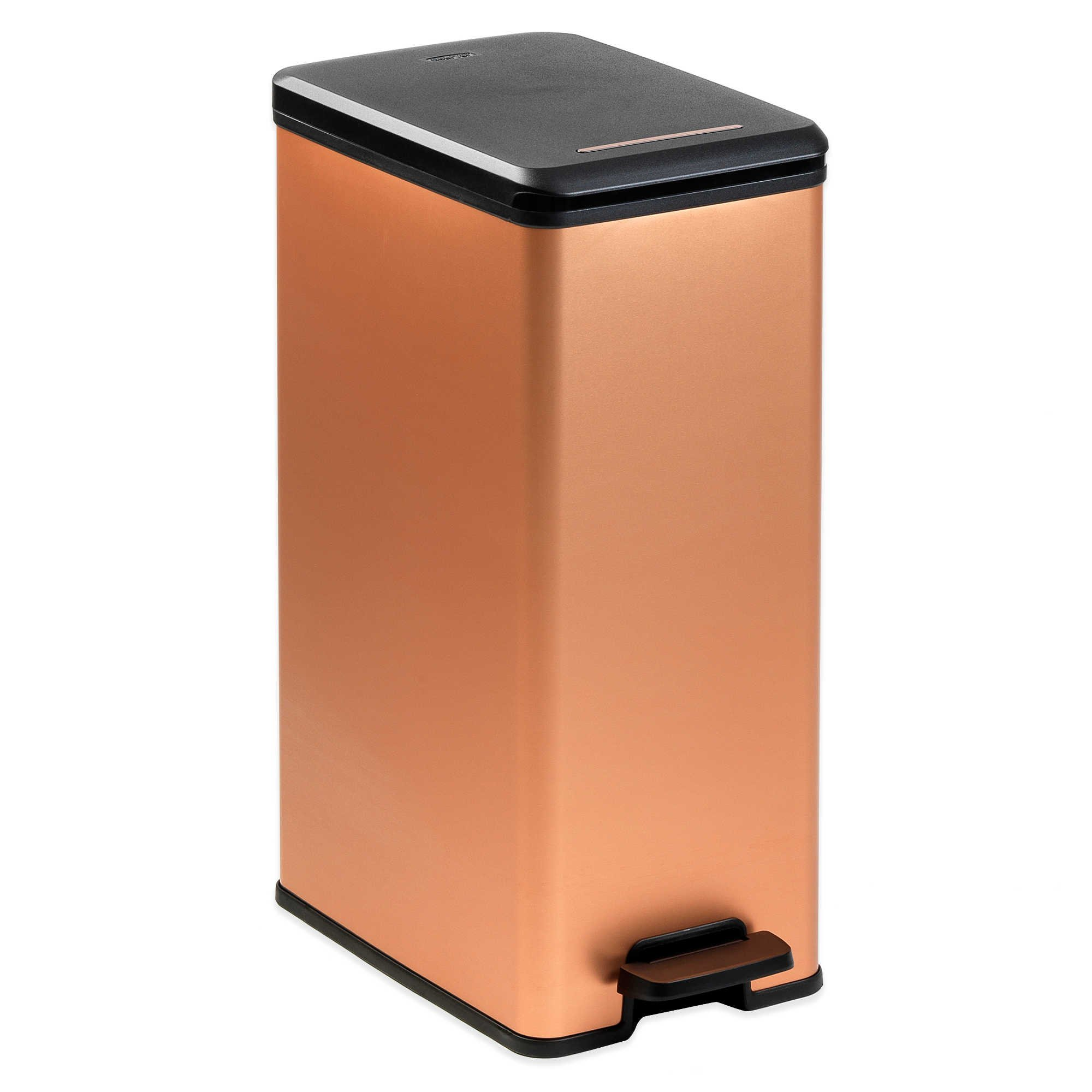 Slim Copper Finish Metallic Trash Can with Plastic Bag ...