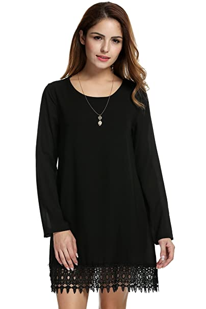 Meaneor Womens Long Sleeve Lace Embellished Lined Chiffon Dress With Necklace