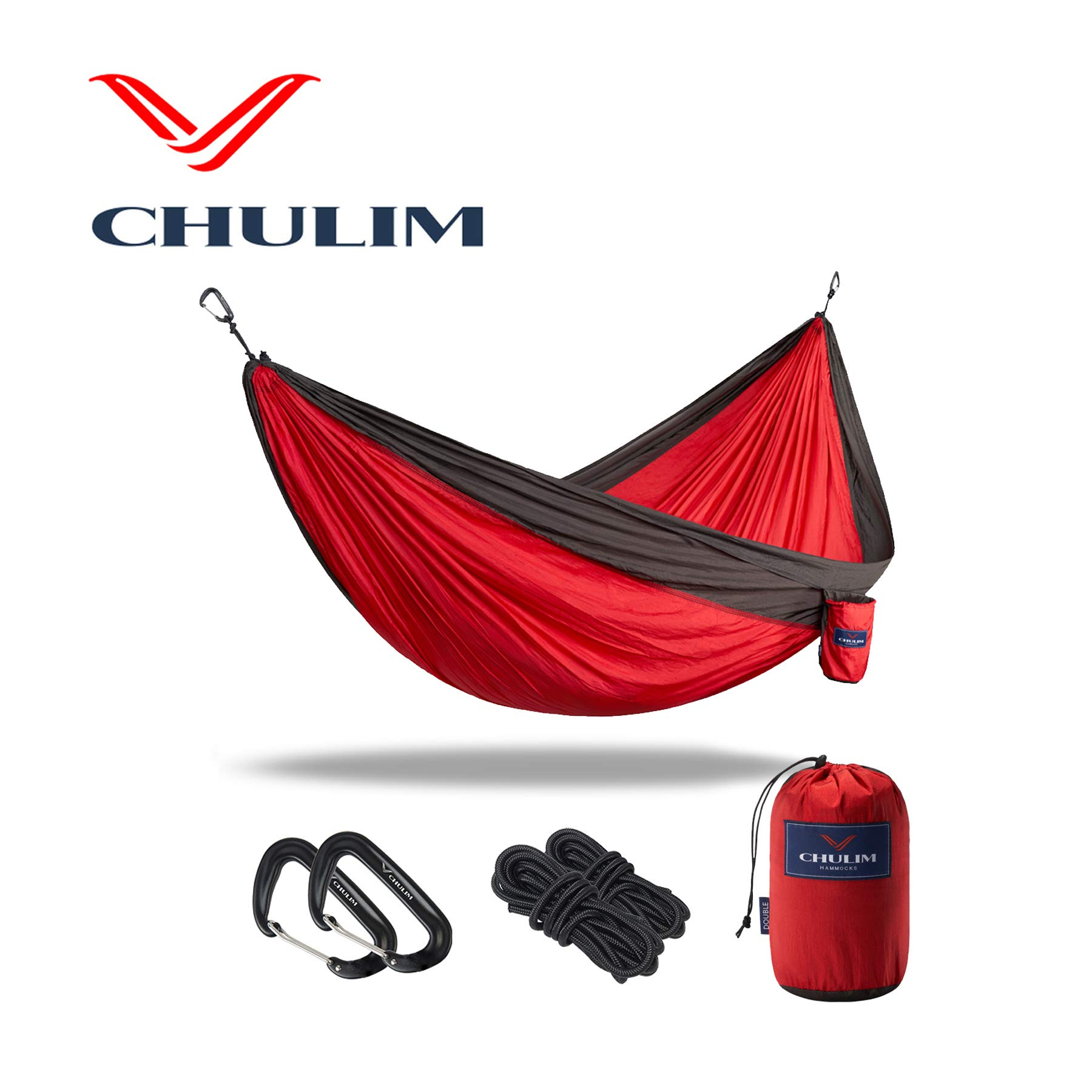 CHULIM Double Camping Hammock with Hanging Kit and 12KN Aluminum Wiregate Carabiner. Lightweight Portable Camping Gear.Parachute Nylon Hammock for Hiking,Travel,Backpacking.
