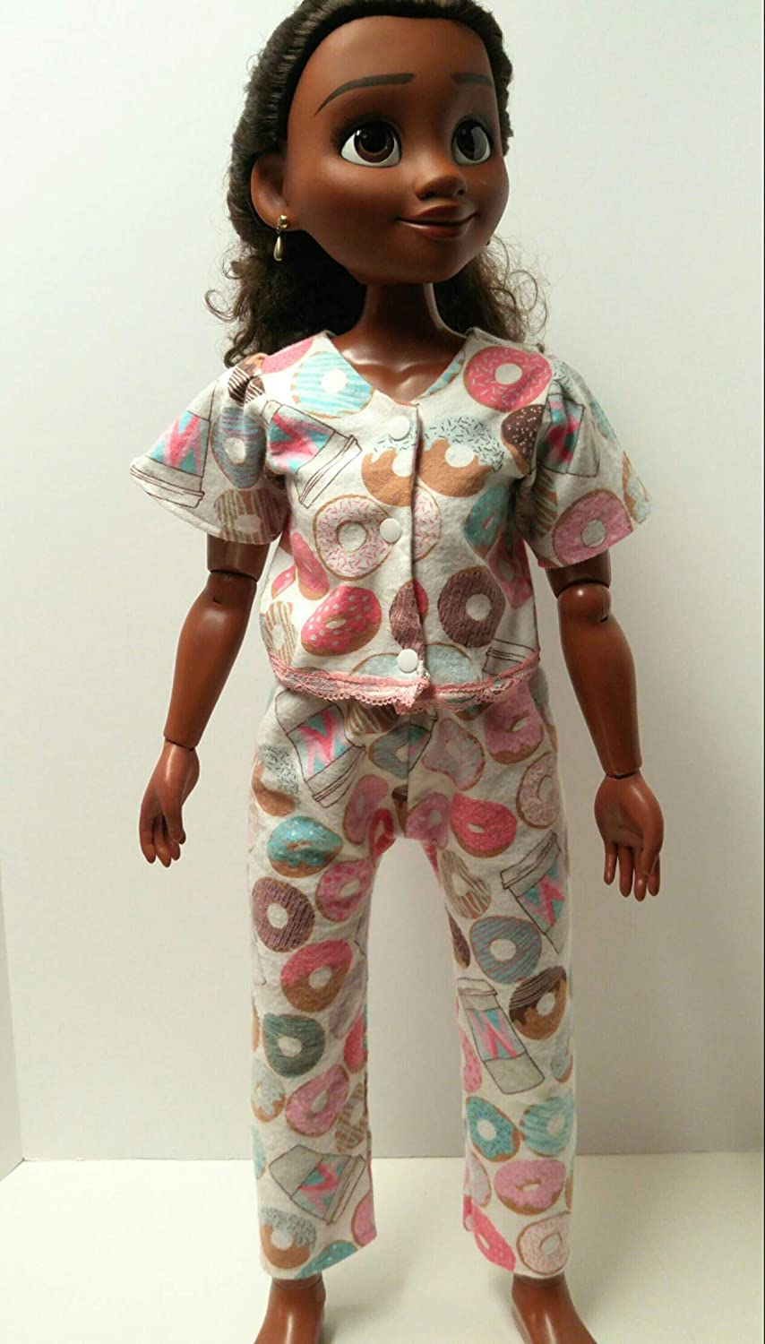 doll outfits Fashionable night wear for dolls Doll clothing Adorable fleece pajama set handmade for 32 inch Moana and similar dolls