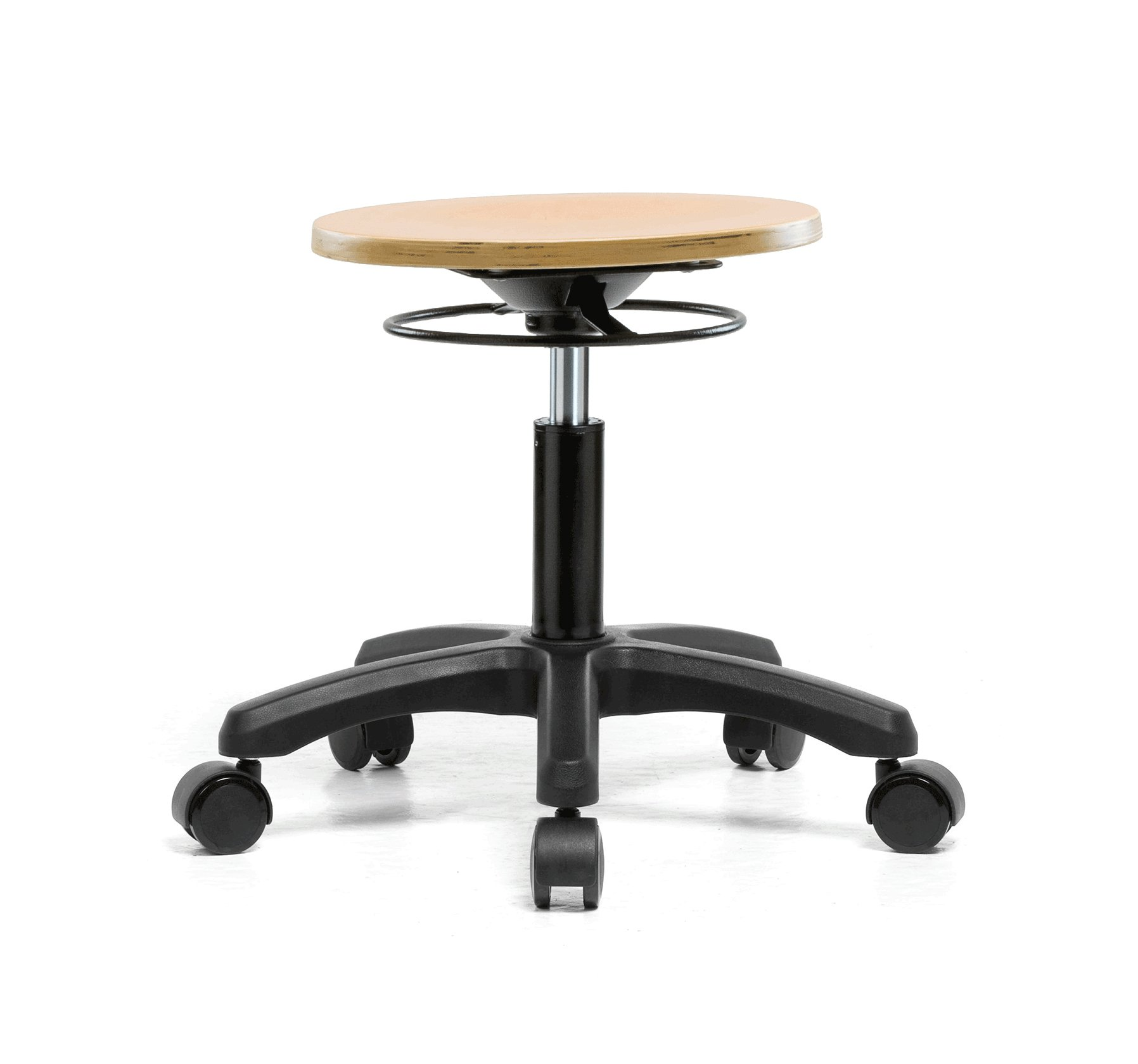 Perch Wood Rolling Pneumatic Stool, All Around Adjustment Ring and Wheels for Carpet or Linoleum, Desk Height