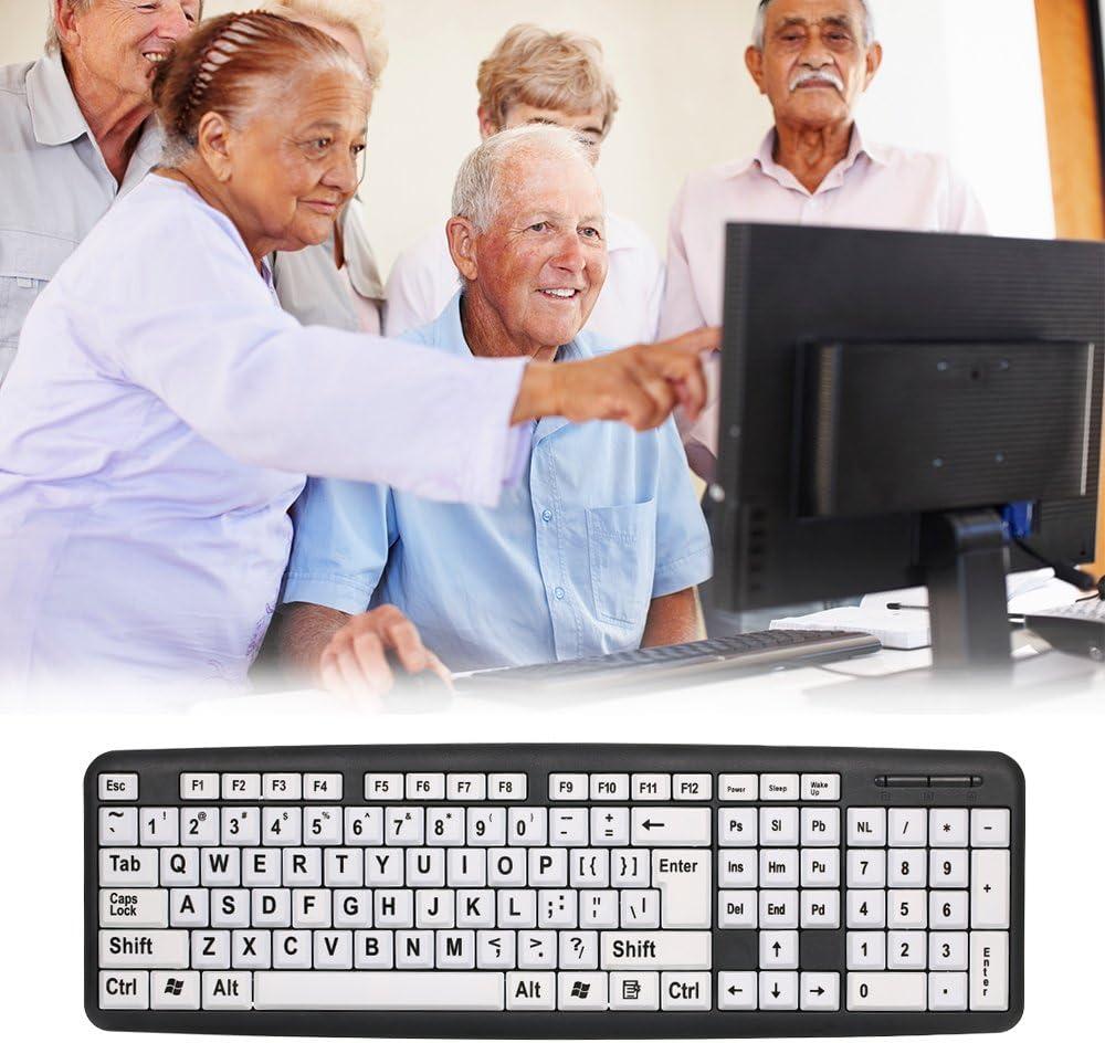 Docooler Teclado de Letras Grandes con Cable USB, Adecuado para usuarios con Baja visión, con Teclas Blancas, Adecuado para Personas Mayores