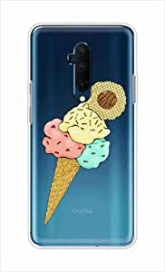okteq Clear TPU Protection and Hybrid Rigid Clear Back Cover Compatible with OnePlus 7T Pro - pink yellow icecream By okteq