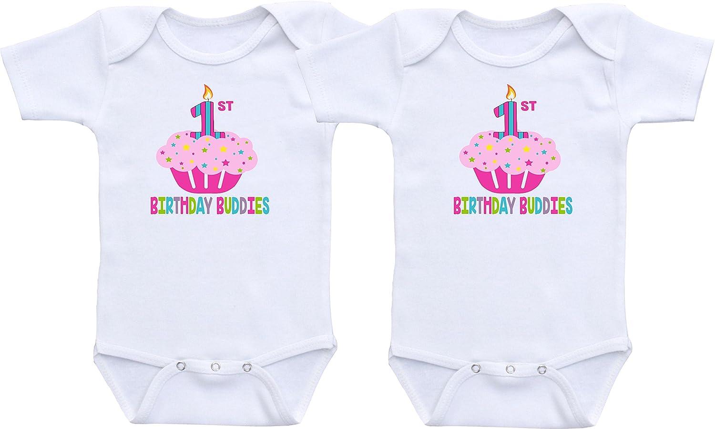 db60457b6 Amazon.com: First Birthday Buddies - Twin Girls First Birthday Outfit Twin  Girl Bodysuit Sets: Clothing