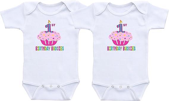 27943bac3 Amazon.com  First Birthday Buddies - Twin Girls First Birthday ...