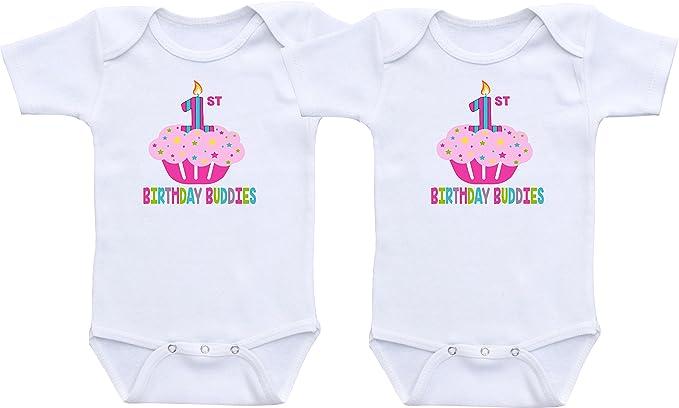a438f955e First Birthday Buddies - Twin Girls First Birthday Outfit Twin Girl  Bodysuit Sets (Newborn Long
