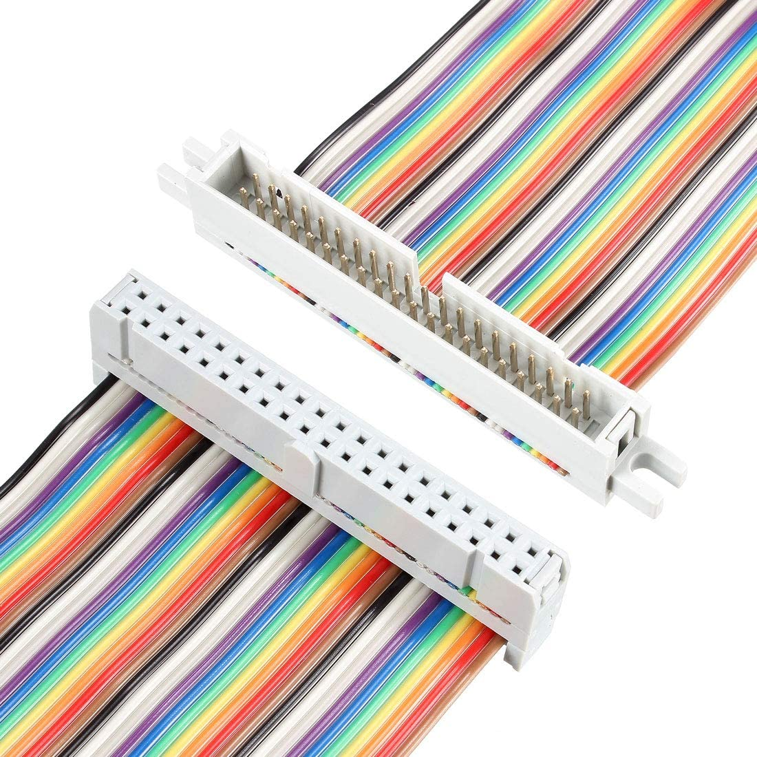IDC Rainbow Wire Flat Ribbon Cable 40P FC//FD Connector 2.54mm Pitch 0.5m Length