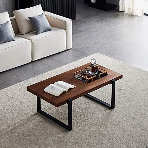 Rustic Coffee Table Wood and Metal Industrial Cocktail Table